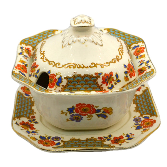 Losol Ware Keeling and Co pattern 5519 Sauce Tureen Lid and Saucer 1929-1930