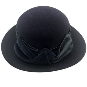 Vintage style navy cloche hat with blue velvet bow