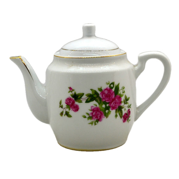 Chinese Export Floral China Pink Rosebud Teapot