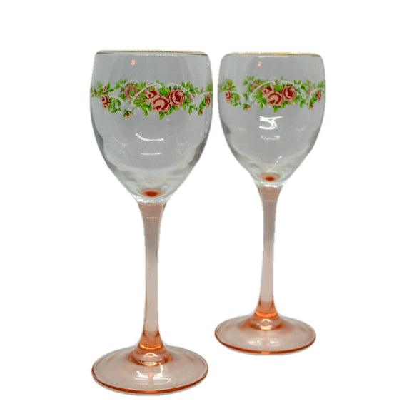 Vintage wine glasses pink stem floral design