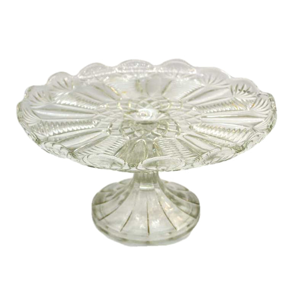 vintage quarter molded glass cake stand