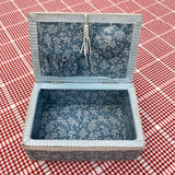 Vintage blue and white floral sewing box