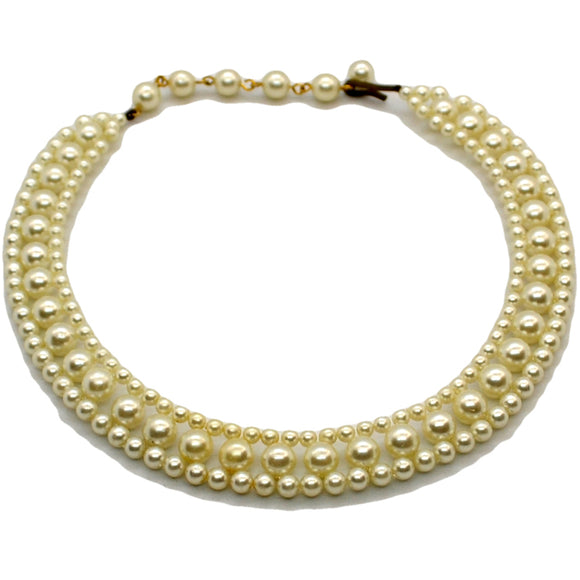 Vintage faux pearl costume jewellery necklace