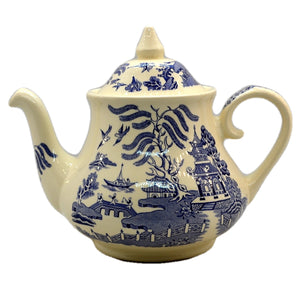 English Ironstone China Old Willow Blue and White China Teapot
