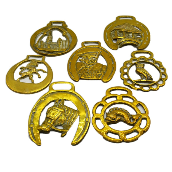 Set of Seven Polished Brass Horse Brasses