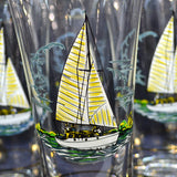 Set of 6 Tall Gilt Rim Sail Boat Larger Glass