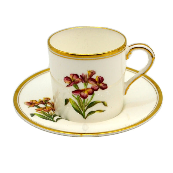 Royal Worcester China Wallflower Cup and Saucer 1955