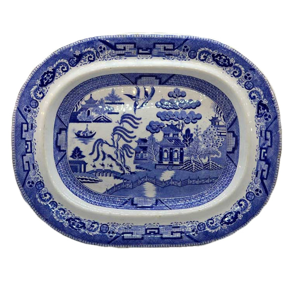 Antique Blue Willow Staffordshire Meat Platter Wedgwood and Co 1860-1900