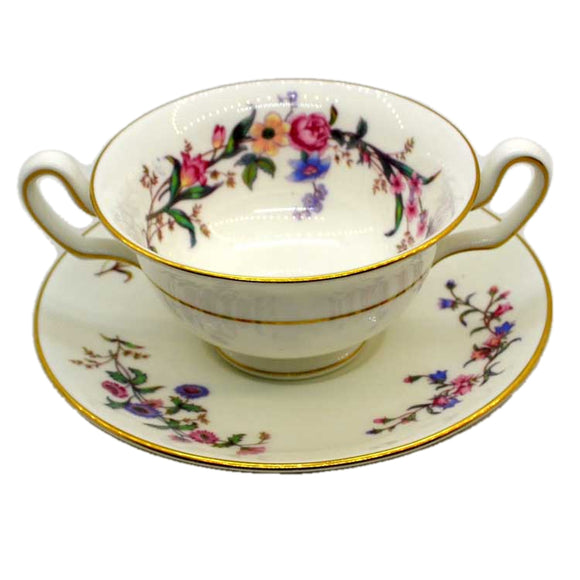 Wedgwood China Devon Sprays W4076 Soup Cup and Saucer