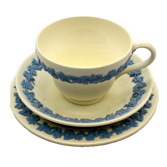 Wedgwood China Embossed Queensware Teacup trio