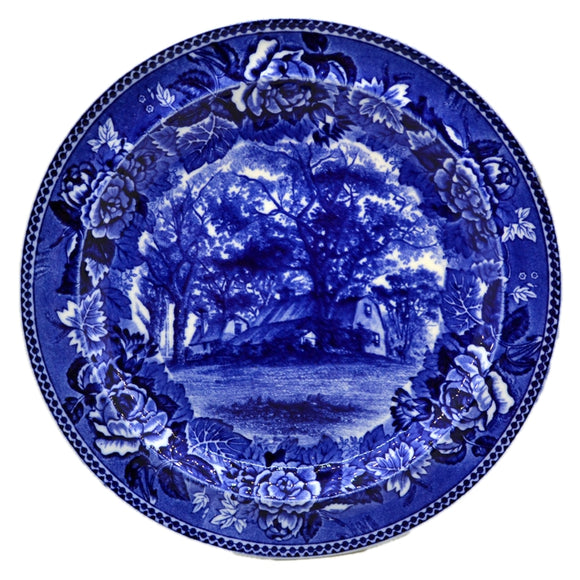 Antique Wedgwood Flow Blue Homestead Plate