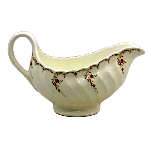 Wedgwood China Pink Garland Pattern Gravy Boat