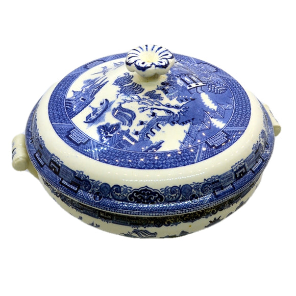 Vintage Wwedgwood willow pattern blue and white china serving tureen