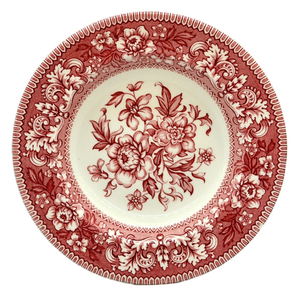 Wood & Sons Burslem Westminster Red and White China Floral Soup Bowls