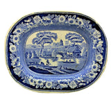 Antique Blue and White floral china Wild Rose Platter