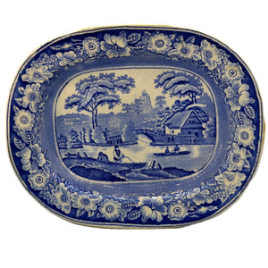 Antique Blue and White Floral China Wild Rose Platter c1840