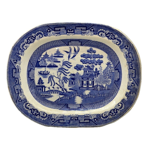 Antique Blue and White Warranted Stone China Willow Pattern Platter