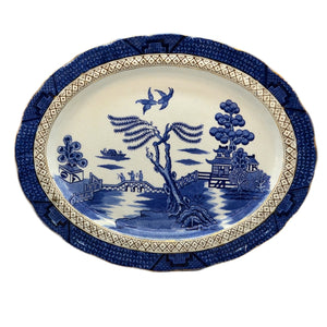 A G Harley Jones Ye Old Chinese Willow Blue and White China platter c1930