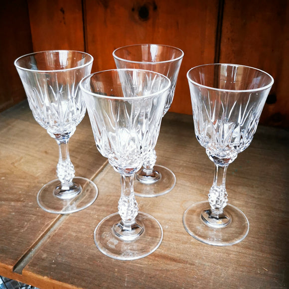 Set of 4 Lead Crystal Small Wine Glasses