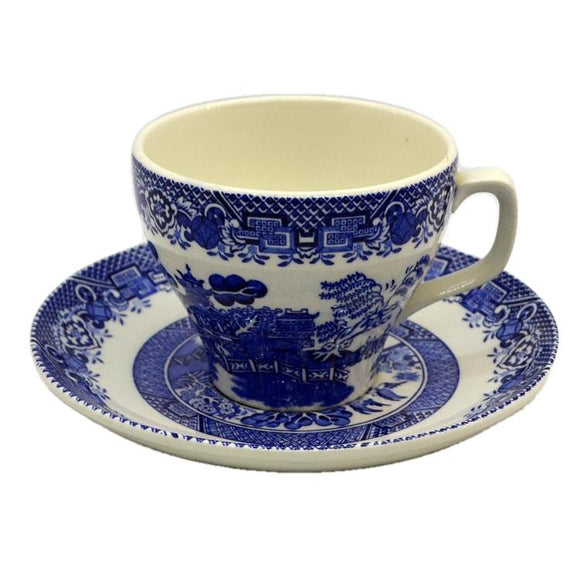 Woods Ware Blue and White Willow Tea Cup and Saucer c1930