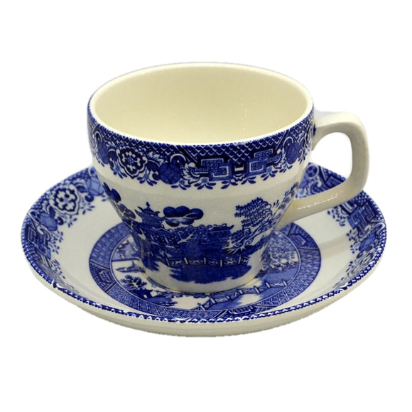 Woods Ware Blue and White Willow China Breakfast Cup and Saucer c1930