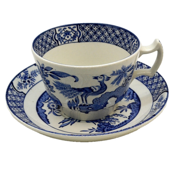 Wood & Sons Yuan Blue and White China Teacup and Saucer
