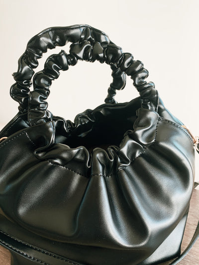 Black Ruffle Scrunch Bag