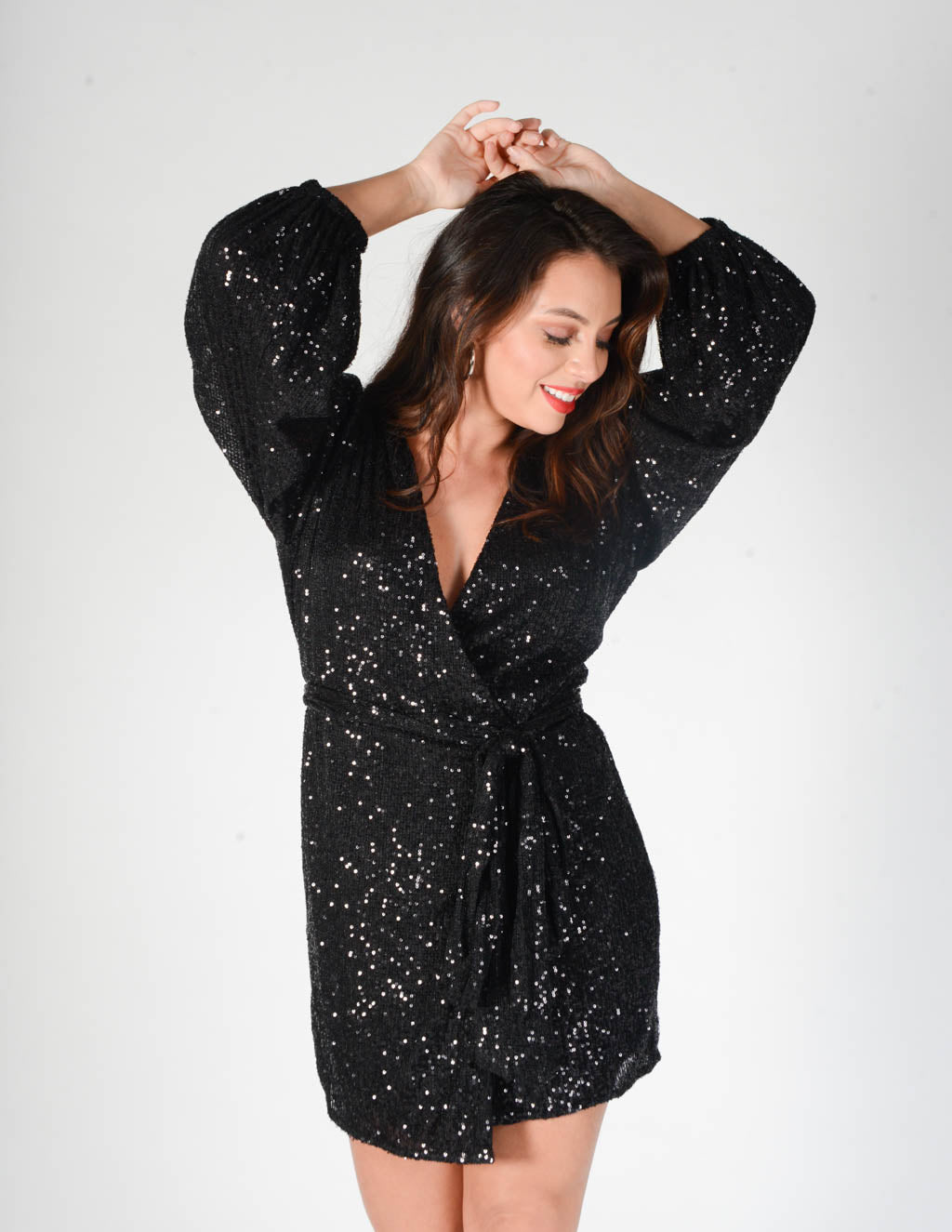 Aria Sequin Wrap Dress