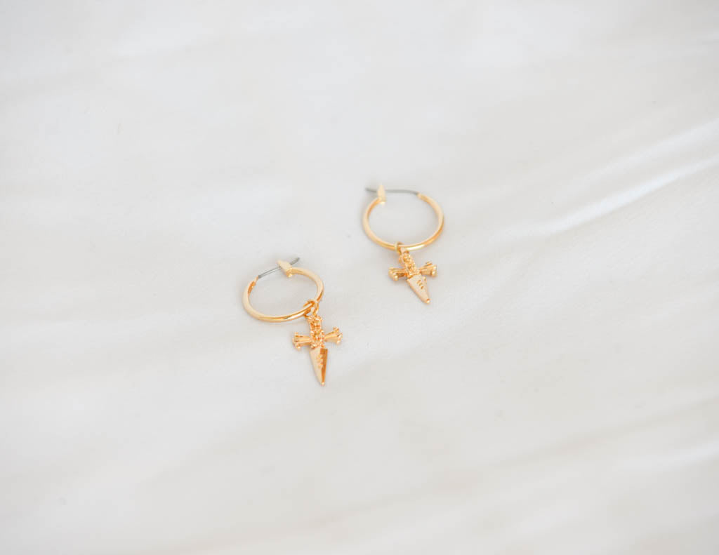 Pardon My Dagger Mini Hoop Earrings