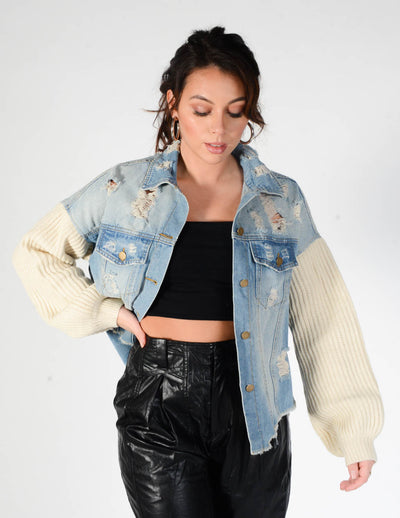 Mixed Signals Denim Sweater Jacket
