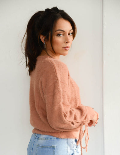 Just Peachy Fuzzy Sweater