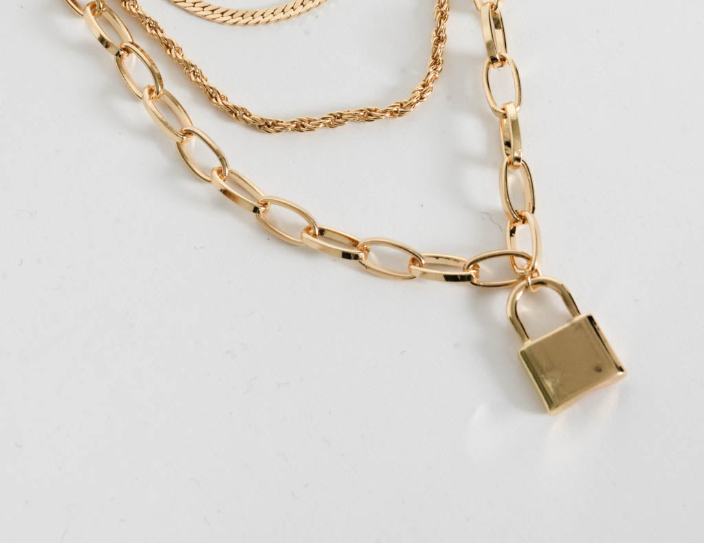 Locked In Layered Necklace