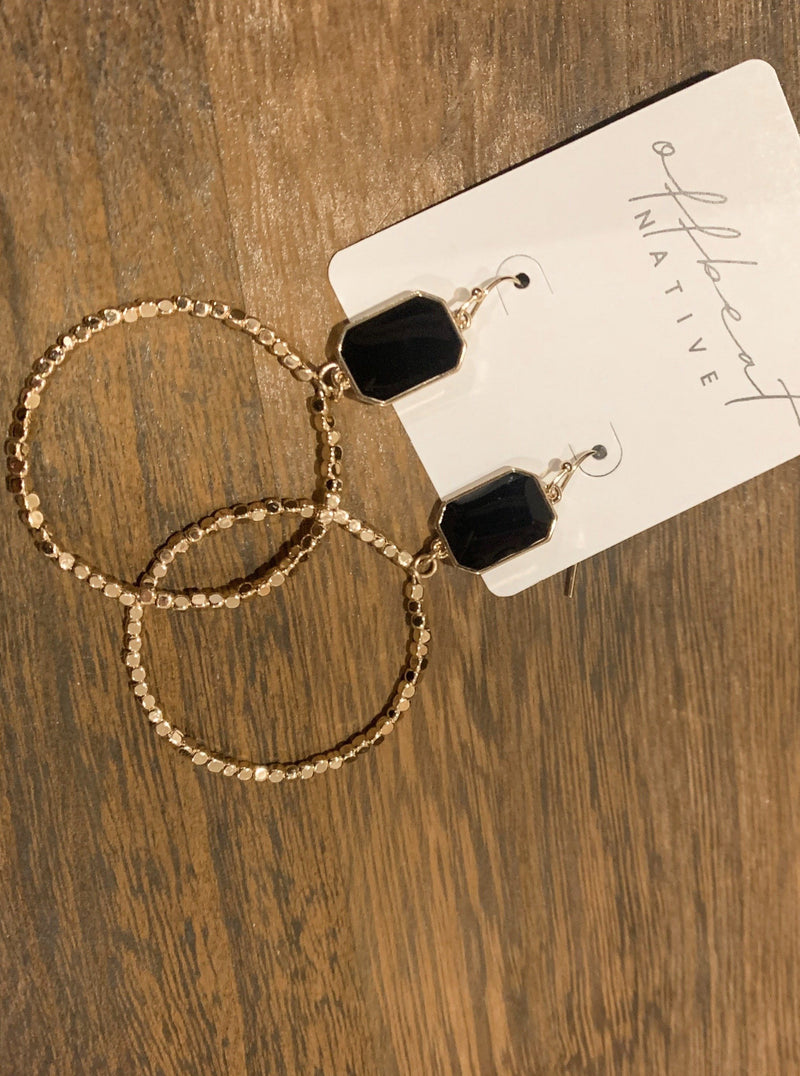 Gem And Beaded Hoop Drop Earrings
