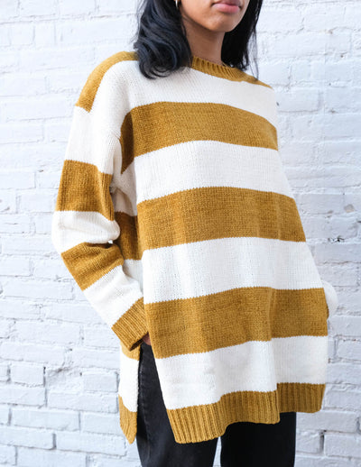 No Plans Striped Pullover