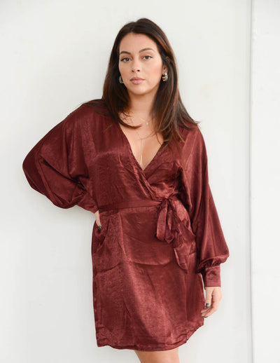 Sangria Lips Satin Dress