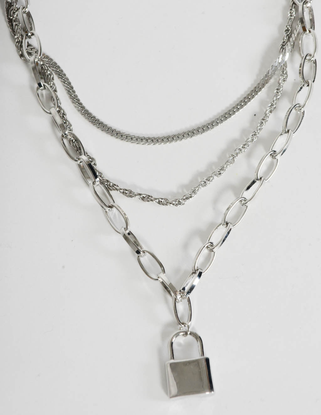 Locked In Layered Silver Necklace