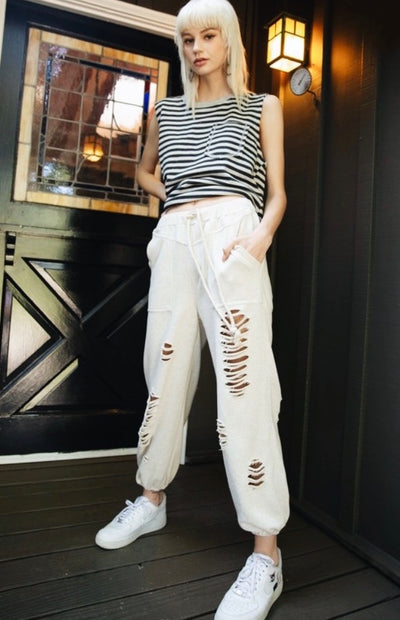 Back Up Distressed Joggers