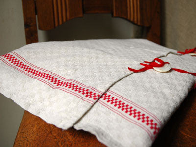 linen pillow case アンティークリネン・ピローケース(red gingham)