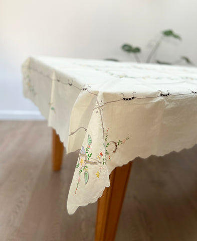 Antique French linen table cloth (flowers)