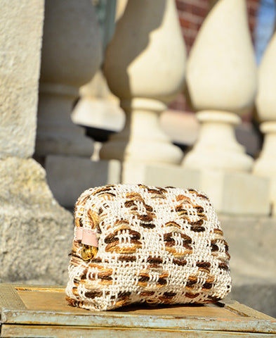 Maria La Rosa / bag rella in handwoven fabric (pois natural)