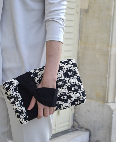 【50%off】Maria La Rosa / bag tour in handwoven fabric (pois pois black)