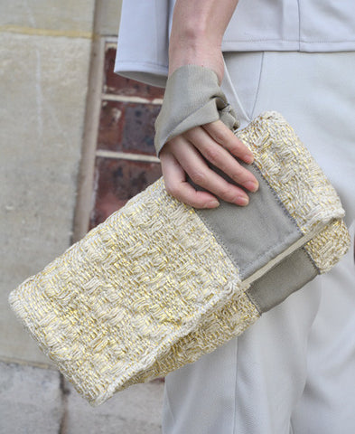 Maria La Rosa / bag tour in handwoven fabric (pois laminated gold)
