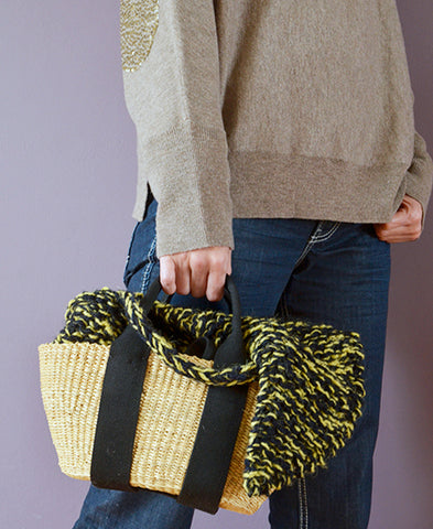 MUUN / GEORGE basket bag (knit mix yellow, s)