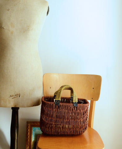 【35%OFF】rosa mosa / Willow basket bag (navy/yellow)