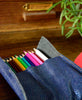 Bandit Manchot / leather case & 18 colored pencils (blue)