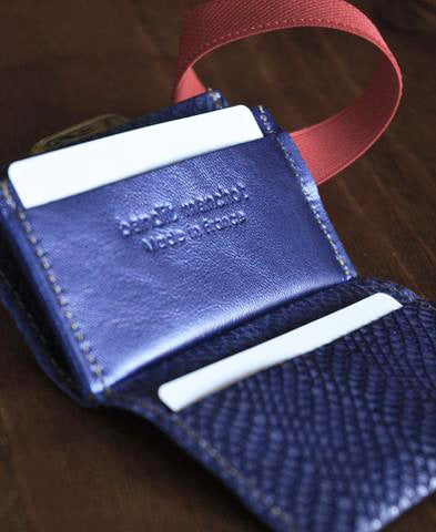 Bandit Manchot / leather multi card holder (blue & silver python)