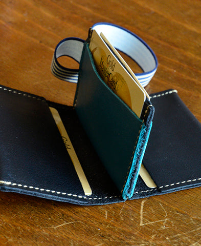 Bandit Manchot / leather multi card holder (dark navy)