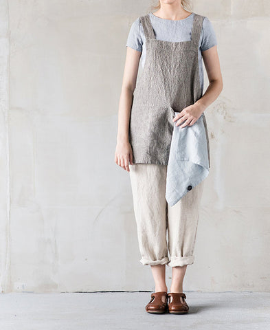 not PERFECTLINEN / APRON (short square cross / natural grey stripes)