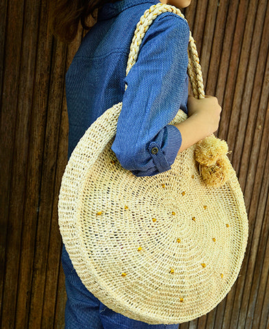 【50%OFF】Obi Obi / women and kids round croched bag (raphia)