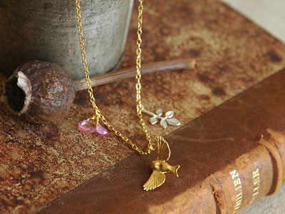 Alex Monroe bird and leaf necklace (g-p/s)